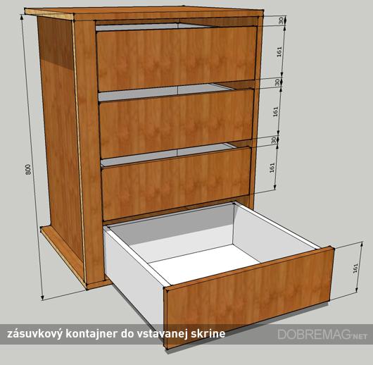 Ako objednať nábytok na mieru: zásuvkový kontajner vo vstavanej skrini